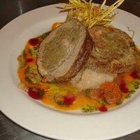 Pork Loin stuffed with plantain mash