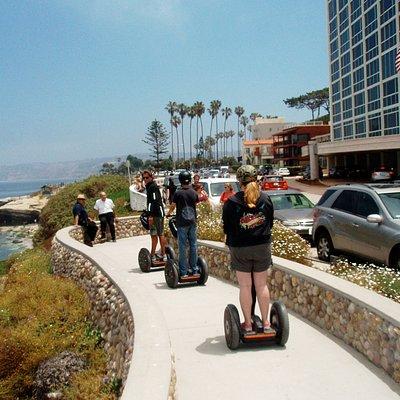 Segwaying along the coast next to ocean in La Jolla