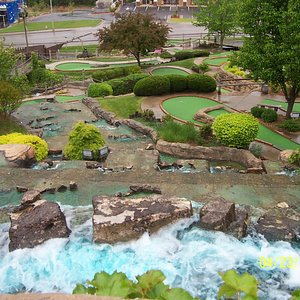 Looking down from the waterfall overlooking the course.