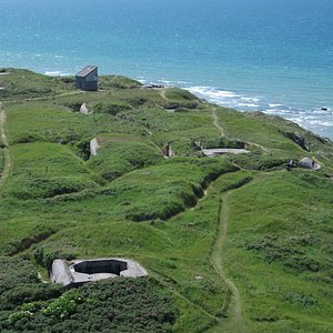 View from the top of the lighthouse of the bunkers