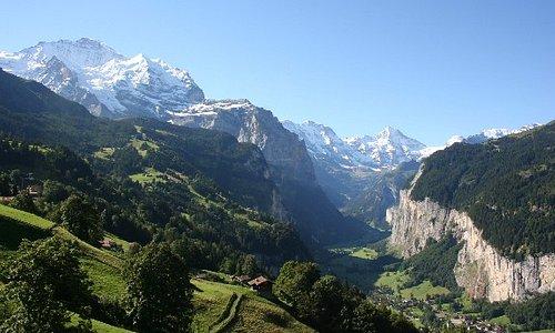 View from train en route from Lauterbrunnen to Wengen