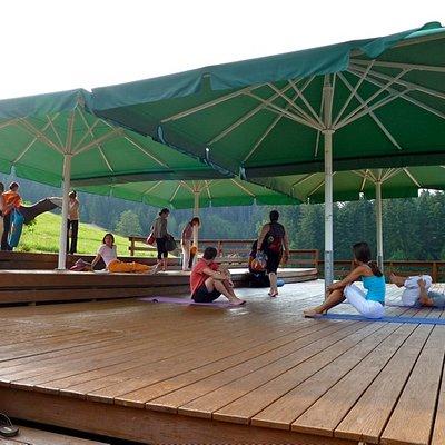 The outside yoga deck