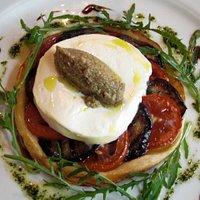 Tomato/egglant/goat cheese tart