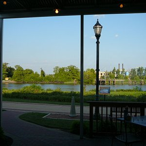 View of the river & paved Riverwalk from Big Fish Grill