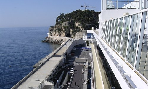Monaco - Fort du Antoine - Look for the flag waving half way up the rock