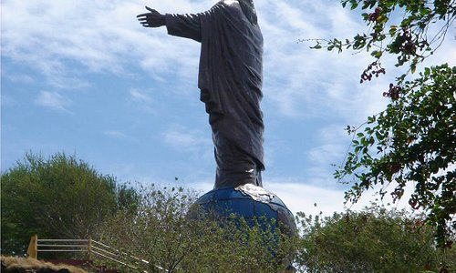 View of the statue on the hike up.