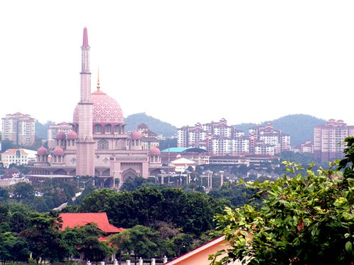 Putra Mosque from the top of the hill.