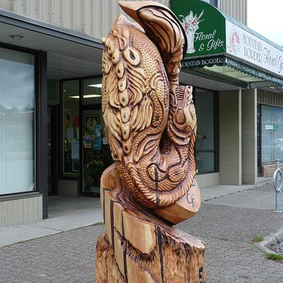 Birth of Ogopogo Woodcarving Hope, B.C.