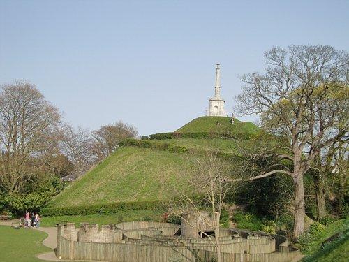 The mound and childrens' maze in Dane John Gardens, Canterbury