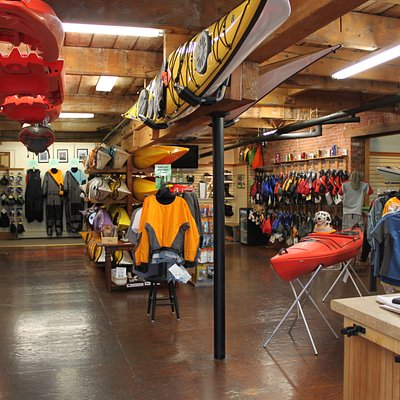 The main retail store features top brand kayaks and accessories