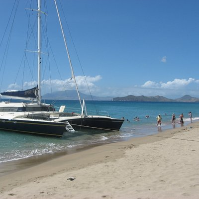 Parked on the beach at Nevis for lunch.