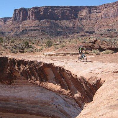 Riding along the canyon rim