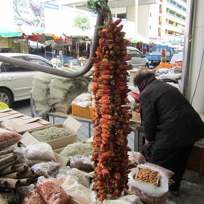 Hanging Hot Chili Peppers at market
