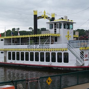The boat. Plenty of seating and tables on board.