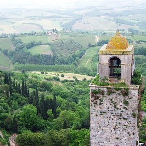 View over Tuscany from Torre Grossa after rainstorm