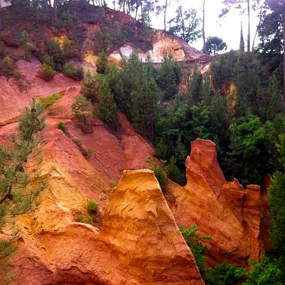 ocher cliffs along the route