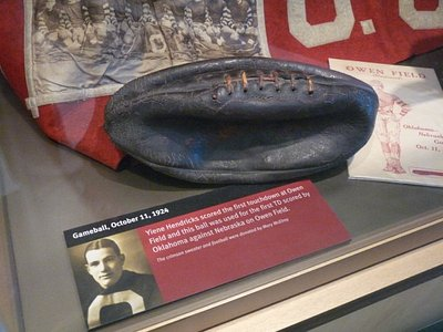 Gameball from OU's first touchdown scored vs. Nebraska on Owen Field in 1924