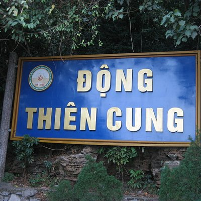 Sign in front of cave