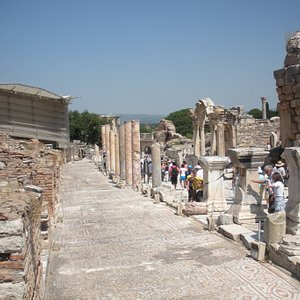 Ancient City of Ephesus-to the left is the current excavation.e