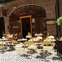 Terrasse de la crêperie le tournesol à Saint-Malo