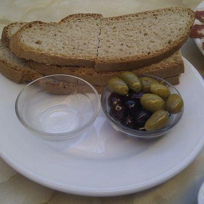 Bread, olives and salt