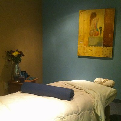 Massage therapy room, facial room, heated tables, custom music selection, hot towels, four treat