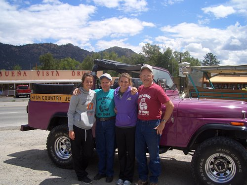 """Our girls with our Guides Bob and Doug standing in front of """"Wildflower"""""""