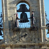 Colesa and Perico on the 18th Century bell-tower of Astorga's Town Hall.