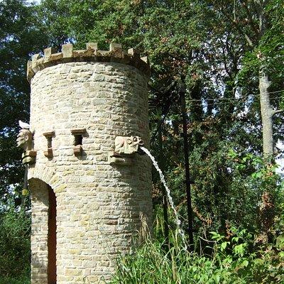 Water tower with gargoyles