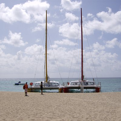 We took the catamaran on the right