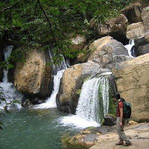 Hidden waterfalls in the rainforest