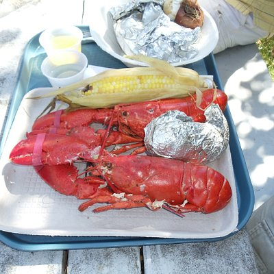 2 Lobsters, Clams, Veggies & Blueberry Cake