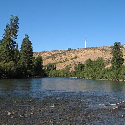 North Yakima River with wind turbine