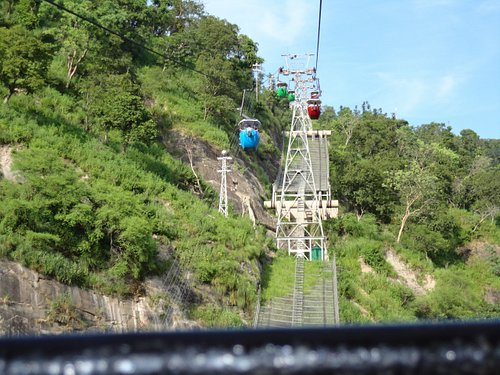 A view from and of the open cable cars