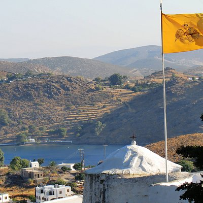 View of St. Anne's overlooking Patmos and the harbour.