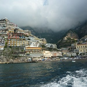 The view of the main beach at Positano from our jet boat.