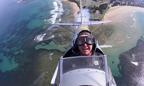 Tiger Moth over Point Danger, Torquay