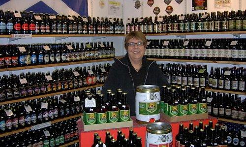 Rita in the Scottish Real Ale Shop