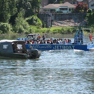 """Portland - Willamette Jetboat, busy river """"traffic"""""""