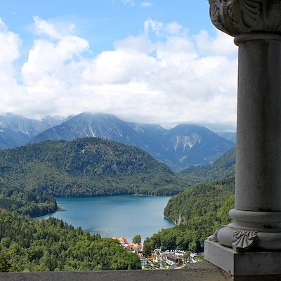 View of Bavaria and the Alps from a castle window