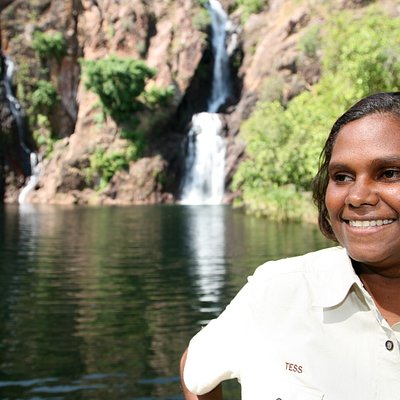 Business owner Tess Atie at Wangi Falls in Litchfield National Park
