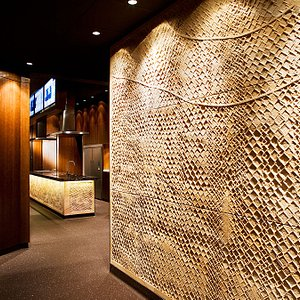Sandstone entry wall by sculptor Michael Purdy!
