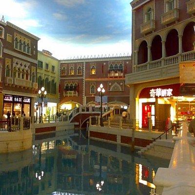 Shops along the Marco Polo Canal at the Venetian Macau