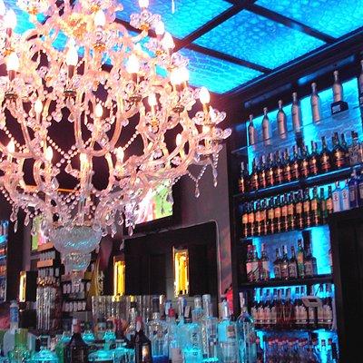 Blue background lighting & chandelier