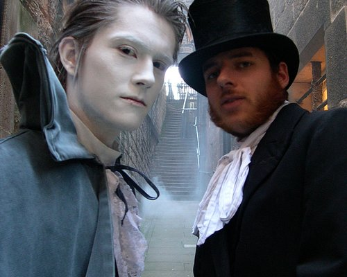 Adam Lyal (deceased) and Alexander Clapperton (deceased), the ghostly guides of the Witchery Tou