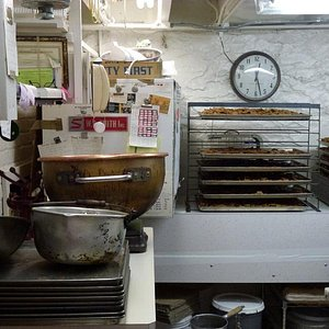 A small sample of the kitchen. Look at those trays of toffee chips!