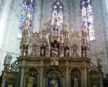Ornate carvings inside the Choir area