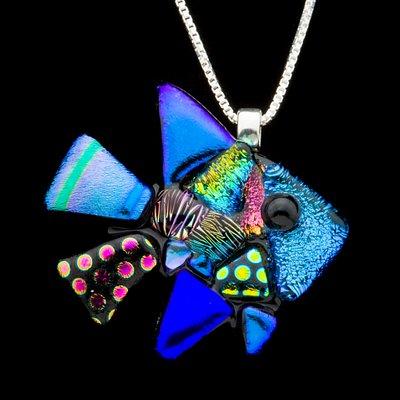 Dichroic glass pendant by Kapfer Glass Studio