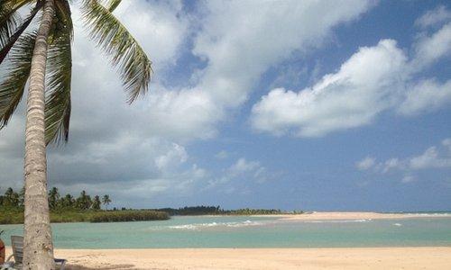 vista do encontro do rio (mangue) com o mar!