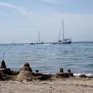 Sand castles and sailboats at Hanlan's Point